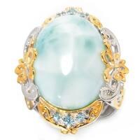 Michael Valitutti Palladium Silver Oval Larimar & Swiss Blue Topaz Ring