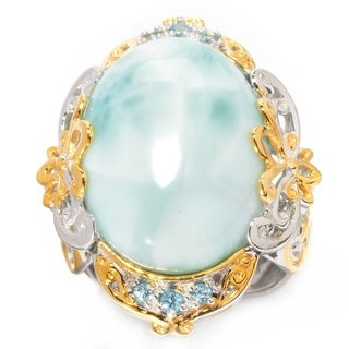 Michael Valitutti Palladium Silver Oval Larimar & Swiss Blue Topaz Ring