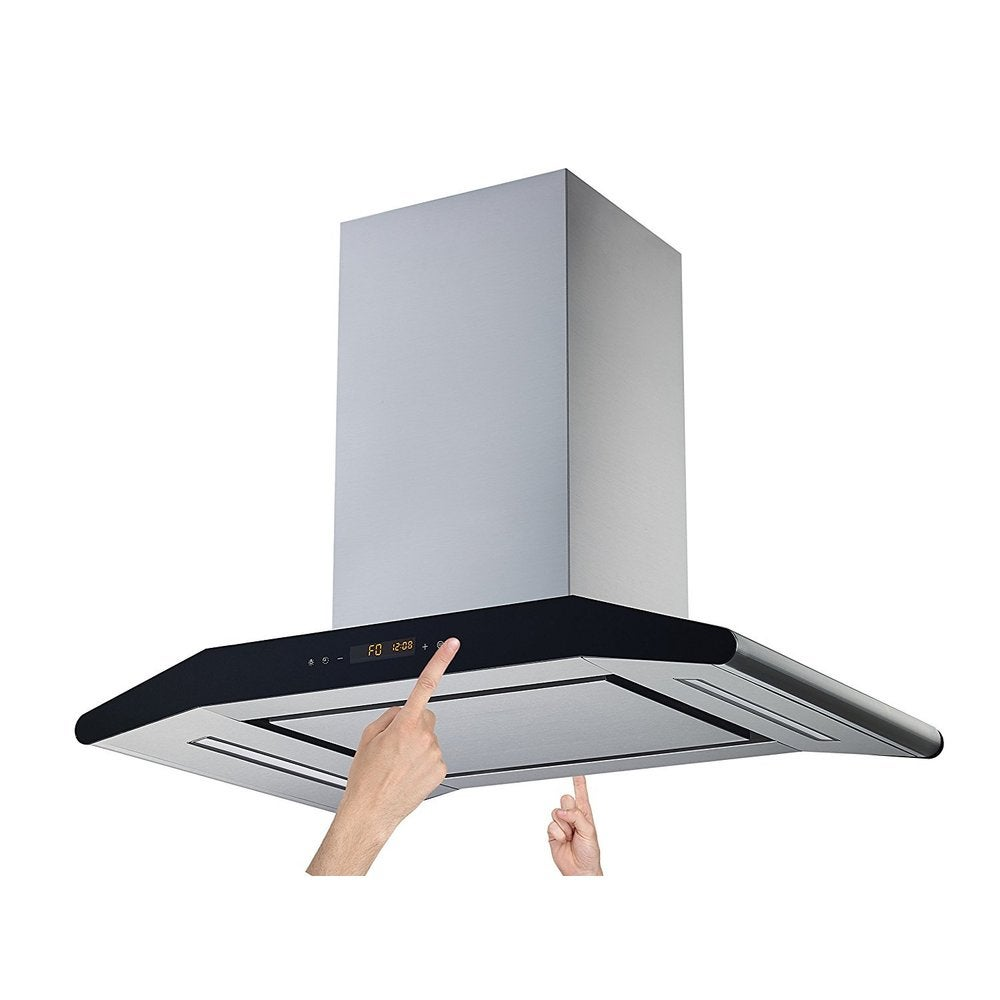 """Winflo  30"""" Convertible Stainless Steel 800 CFM 5 Speed Island Range Hood with 2 Sides Touch Control (30"""")"""