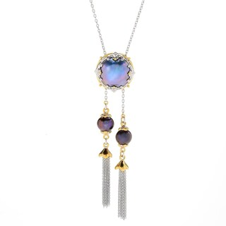 Michael Valitutti Palladium Silver Mabe & Freshwater Cultured Pearl Bolo Necklace (Option: Peacock)