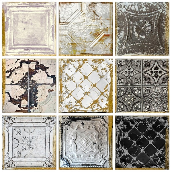 Shop Stupell Industries Vintage Tin Tiles 9pc Canvas Wall Art Set ...