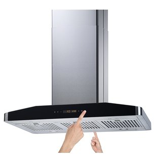 "Winflo 36"" Convertible Stainless Steel 750 CFM 5 Speed Island Range Hood with 2 Sides Touch Control"