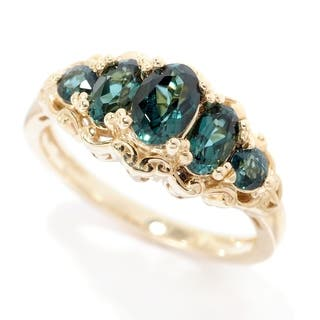 Michael Valitutti 14K Yellow Gold Indicolite Five Stone Band Ring|https://ak1.ostkcdn.com/images/products/17653987/P23865530.jpg?impolicy=medium