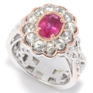 Michael Valitutti Palladium Silver Rubellite & White Zircon Flower Ring