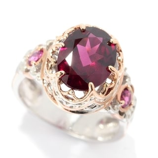 Michael Valitutti Palladium Silver Rhodolite & Pink Tourmaline Crown Ring