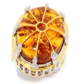 Michael Valitutti Palladium Silver Baltic Amber High-Set Vatican Ring|https://ak1.ostkcdn.com/images/products/17653996/P23865534.jpg?impolicy=medium