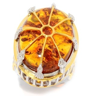 Michael Valitutti Palladium Silver Baltic Amber High-Set Vatican Ring
