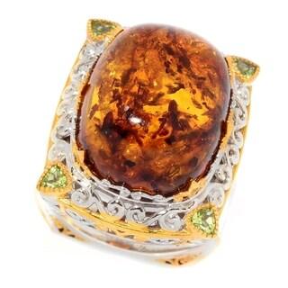 Michael Valitutti Palladium Silver Cushion Shaped Baltic Amber & Peridot Ring