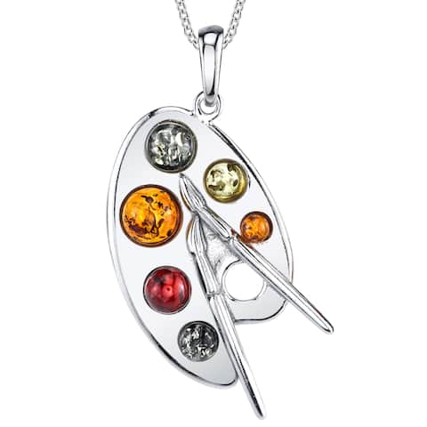 """Oliveti Sterling Silver Baltic Amber Artist Painter's Palette Pendant Necklace 18"""" Free Rolo Chain - Multi Color"""