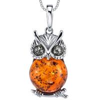 "Oliveti Sterling Silver Baltic Amber Owl Wisdom Pendant Necklace  18"" Free Rolo Chain - Multi Color"