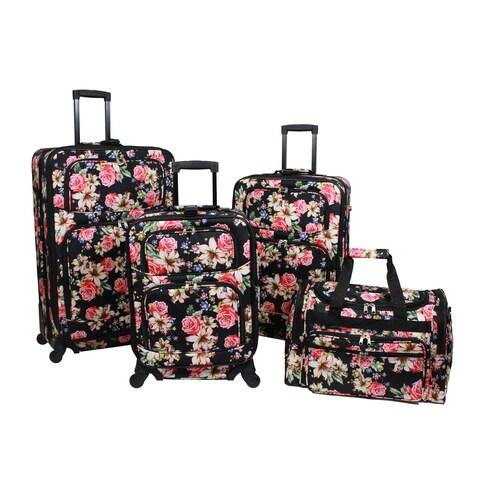 World Traveler Flower Bloom 4-piece Rolling Expandable Spinner Luggage Set