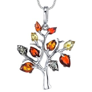"Oliveti Sterling Silver Multi-Color Baltic Amber Tree of Life Pendant Necklace 18"" Free Rolo Chain - Multi Color"