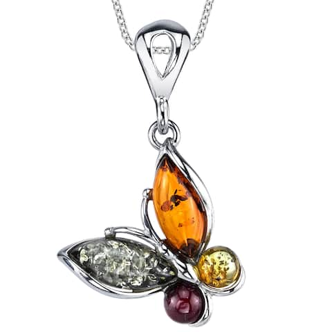 """Oliveti Sterling Silver Baltic Amber Multi Color Butterfly Pendant Necklace 18"""" Free Rolo Chain - Multi Color"""