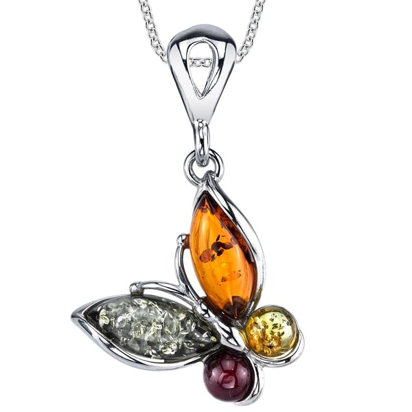 a50c034f6 Shop Oliveti Sterling Silver Baltic Amber Multi Color Butterfly Pendant  Necklace 18