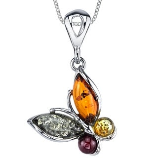 "Oliveti Sterling Silver Baltic Amber Multi Color Butterfly Pendant Necklace 18"" Free Rolo Chain - Multi Color"
