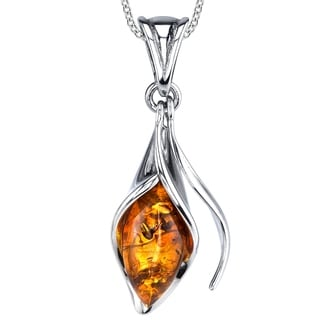 "Oliveti Sterling Silver Baltic Amber Calla Lily Flower Pendant Necklace 18"" Free Rolo Chain - Multi Color"