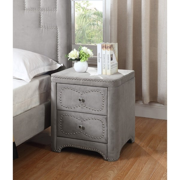 Best Quality Furniture 2-drawer Velvet Nightstand