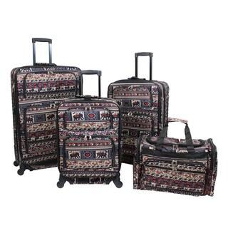 World Traveler Elephant Print 4-piece Rolling Expandable Spinner Luggage Set