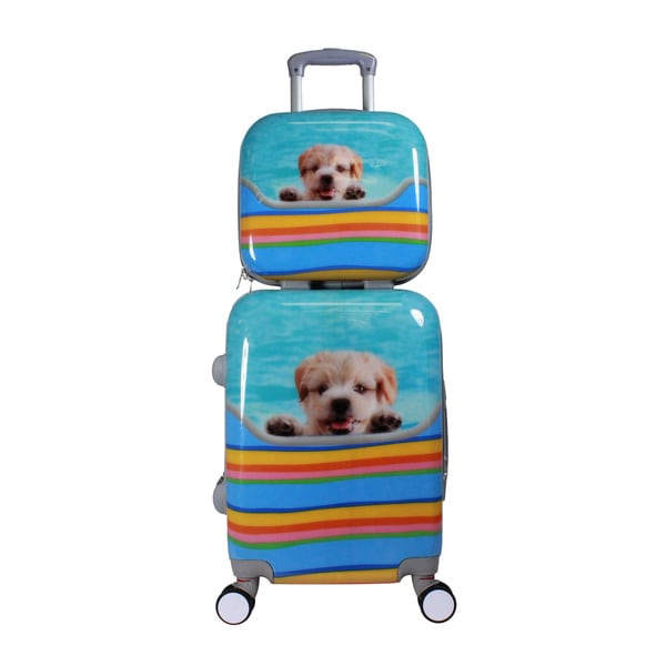Cute Puppy Dog 2-piece Hardside Carry-on Spinner Luggage Set with TSA Lock