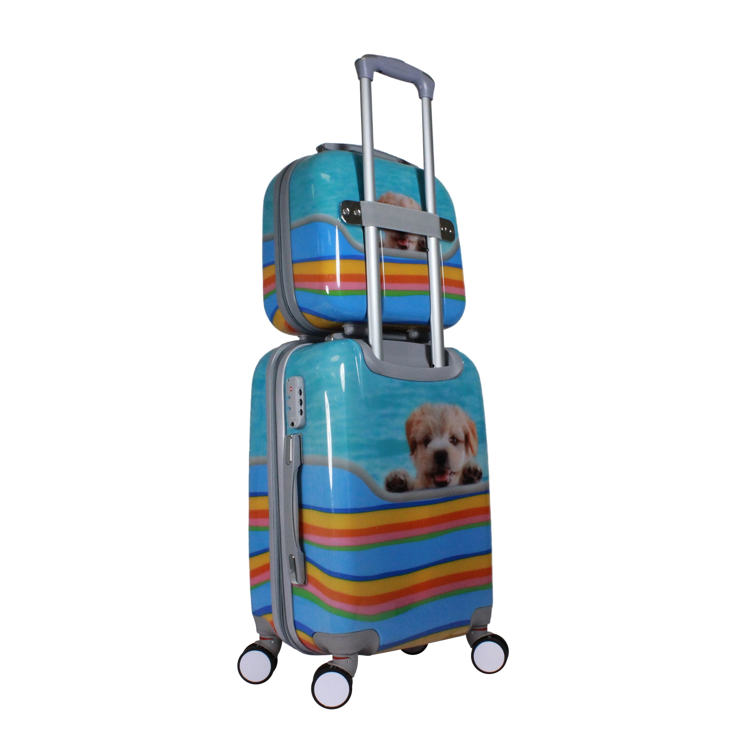 Cute Puppy Dog 2 Piece Hardside Carry On Spinner Luggage Set With Tsa Lock