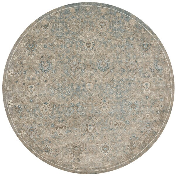 Traditional Blue/ Stone Grey Floral Distressed Round Rug - 9'3
