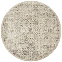 Traditional Beige/ Taupe Floral Distressed Round Rug - 9'3