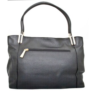 Leatherbay Garda Black Leather Tote Bag