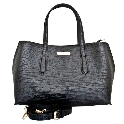 Leatherbay Patria Black Leather Tote Bag