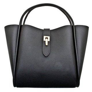 Leatherbay Cecita Black Leather Tote Bag