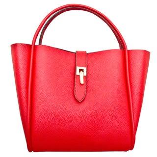 Leatherbay Cecita Crimson Red Leather Tote Bag