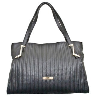 Leatherbay Elba Black Leather Tote Bag