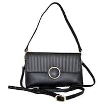 Leatherbay Zevio Black Leather Shoulder Handbag