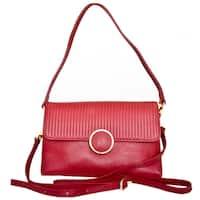 Leatherbay Zevio Dark Red Leather Shoulder Handbag
