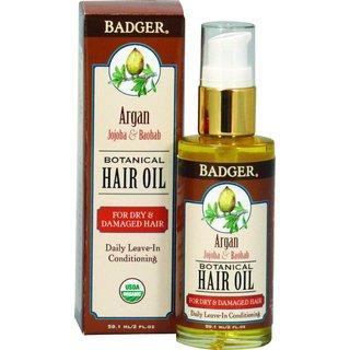 Badger 2-ounce Botanical Hair Oil for Dry & Damaged Hair