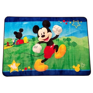 Lovely Disney Mickey Mouse Multicolor Non Slip Polyester Kids Area Rug (4u00276 X