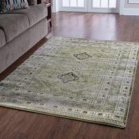 "Serape Collection Goravan Green Rug (5' x 7'6"")"
