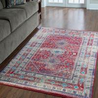 "Serape Collection Goravan Red/ Multi Rug (8' x 10'6"")"