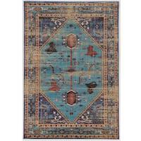 Serape Collection Heriz Turquoise/Multi Rug (2' x 3')