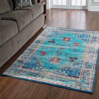 "Serape Collection Heriz Turquoise/Multi Rug (5' x 7'6"")"