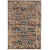 Serape Collection Mahal Beige/Turquoise Rug (2' x 3')