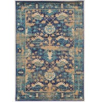 Serape Collection Mahal Blue/Beige Rug (2' x 3')