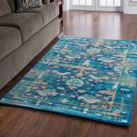 "Serape Collection Mahal Blue/Beige Rug - 8' x 10'6"""