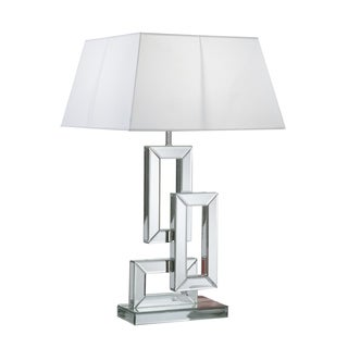 Mirrored Linked Rectangle Table Lamp with Shade