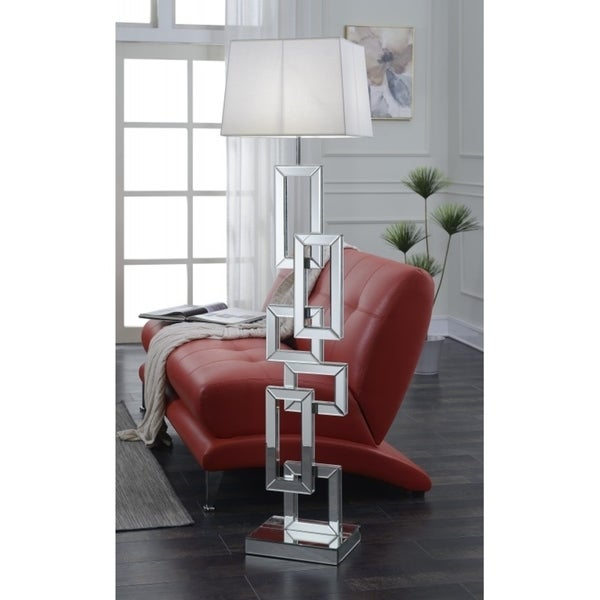 Mirrored Linked Rectangle Floor Lamp with Shade