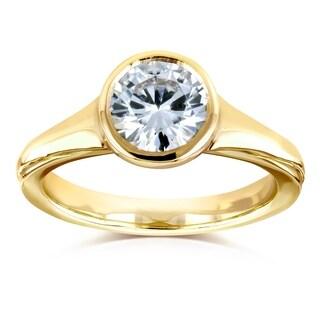 Annello By Kobelli 14k Yellow Gold 1 Carat Moissanite FG Round Bezel Solitaire Ring