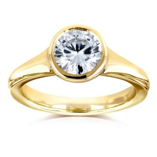 Annello By Kobelli 14k Yellow Gold 1 Carat Colorless Moissanite DEF Round Bezel Solitaire Ring