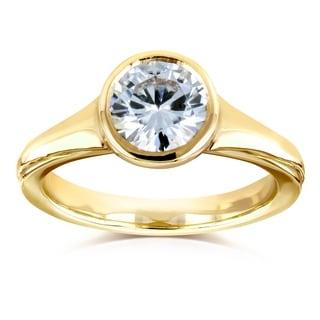 Annello by Kobelli 14k Yellow Gold 1 Carat Moissanite (HI) Round Bezel Solitaire Ring