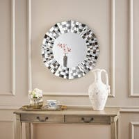 Dalton Geometric Wall Mirror by Christopher Knight Home - Silver