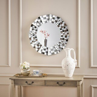 Dalton Geometric Wall Mirror by Christopher Knight Home - Silver