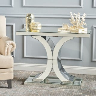 Olivine Modern Mirrored x Shaped Console Table by Christopher Knight Home